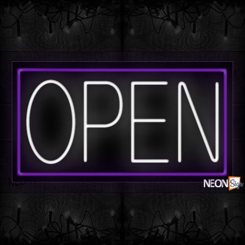 Image of Open (White Text) With Purple Border Neon Sign