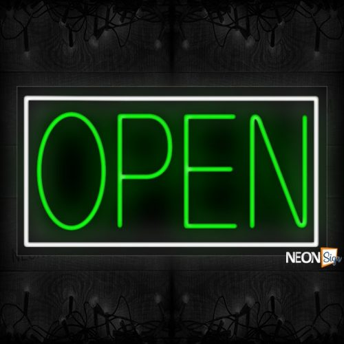 Image of Open in green With White Border Neon Sign