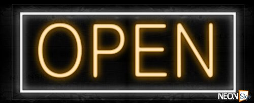 Image of Open in red With White Border Neon Sign