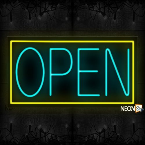 Image of Open in aqua With Yellow Border Neon Sign