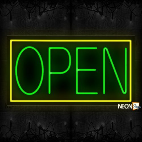 Image of Open (Green Text) With Yellow Border Neon Sign