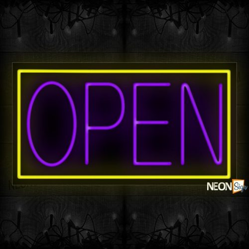 Image of Open in purple With Yellow Border Neon Sign