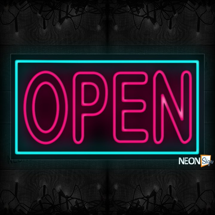 Image of Open (Double-Stroke) With Neon Blue Border Neon Sign
