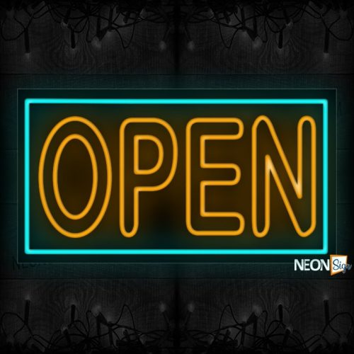 Image of Open (Orange Double-Stroke Text) With Neon Blue Border Neon Sign
