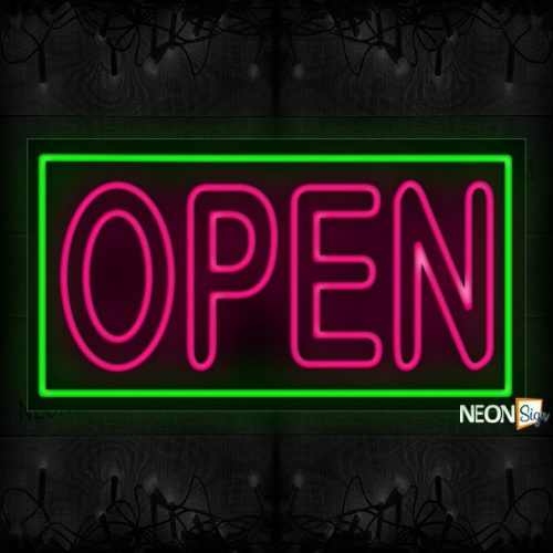 Image of Open in Pink With Green Border Neon Sign