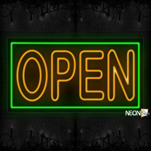 Image of Open in Yellow Neon Sign