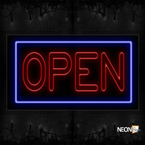 Image of Open (Double-Stroke; Red Text Color) With Blue Border Neon Sign
