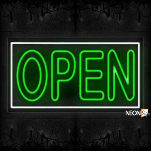 Image of Open double stroke in green With White Border Neon Sign