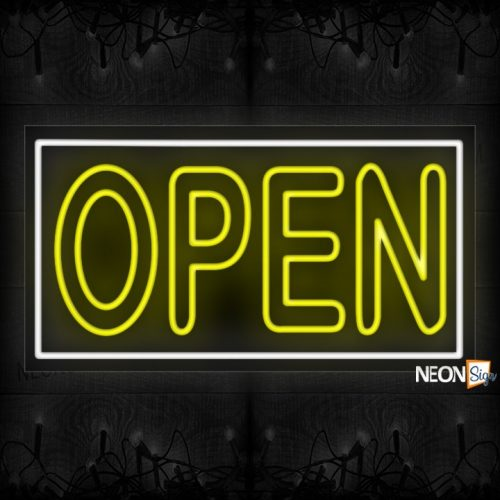 Image of Open double stroke in yellow With White Border Neon Sign