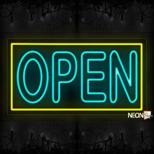 Open double stroke in aqua With Yellow Border Neon Sign