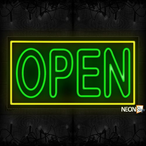 Image of Open double stroke in green With Yellow Border Neon Sign