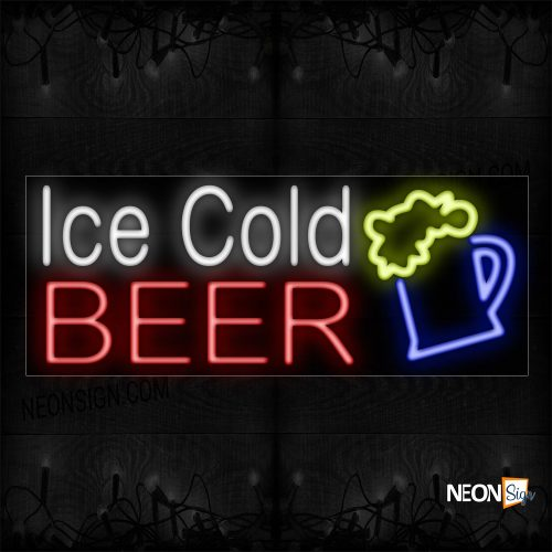 Image of Ice Cold Beer With Mug Neon Sign