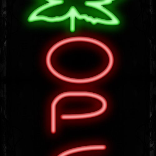 Image of Open in red With Leaves Vertical Neon Sign