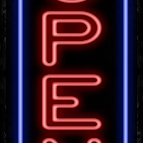 Image of Open With Border Neon Sign - Vertical