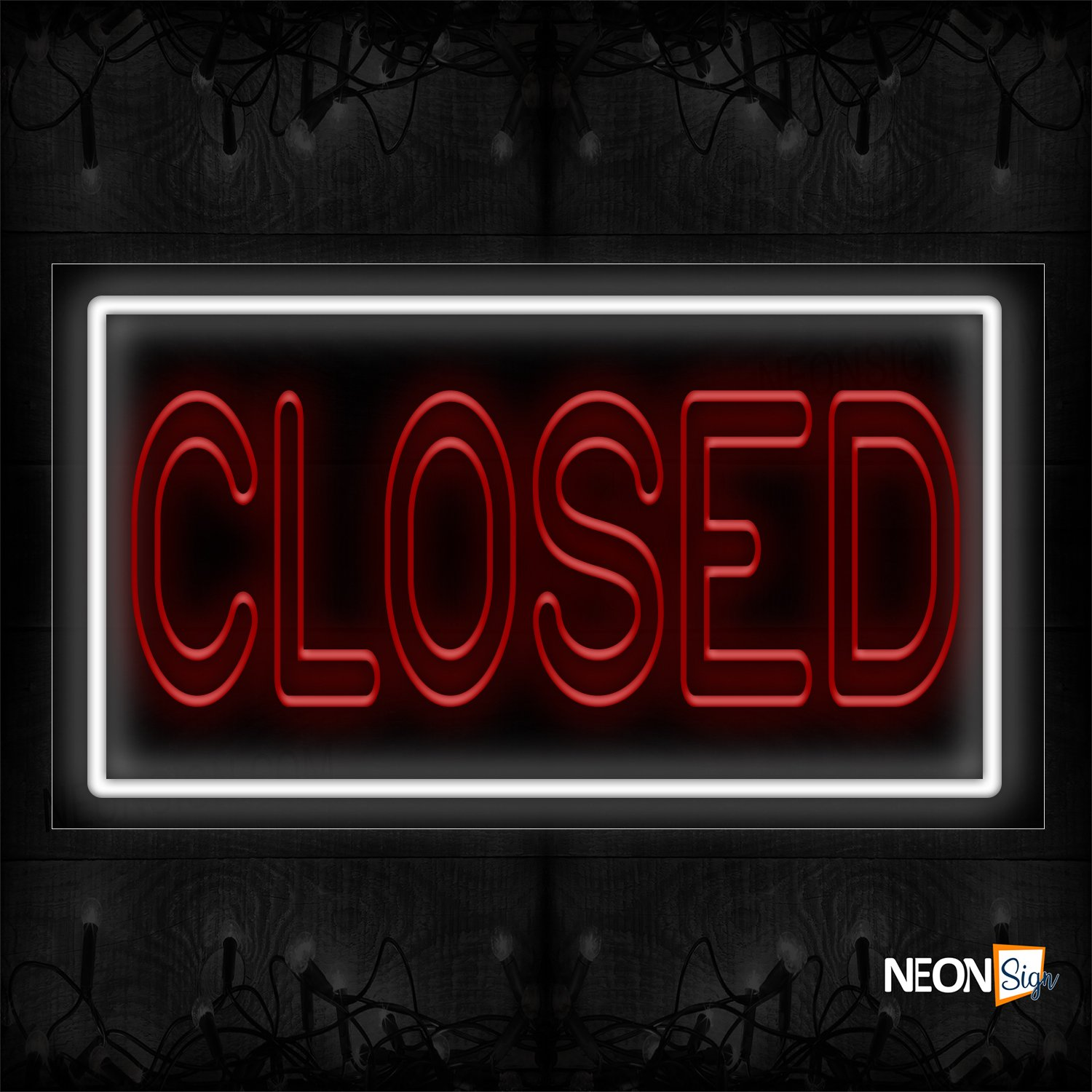 Image of Closed With White Border Traditional Neon