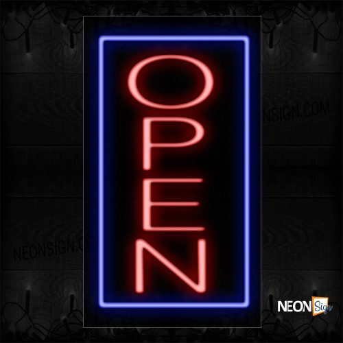 Image of Open In Red With Blue Border (Vertical) Neon Sign