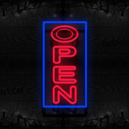 Image of Double Stroke Open With Blue Border (Vertical) Neon Sign