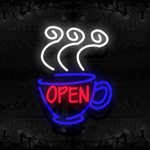 Image of Open With Hot Coffee Traditional Neon