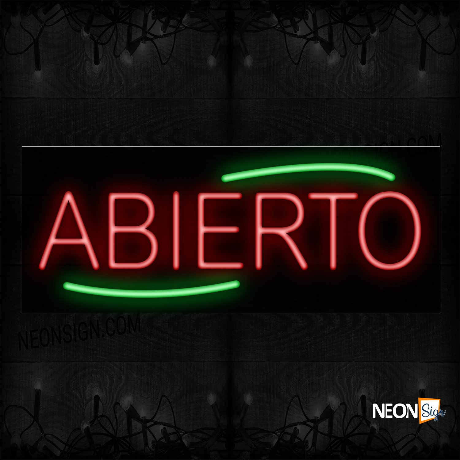 Image of Abierto With Green Arc Border Neon Sign