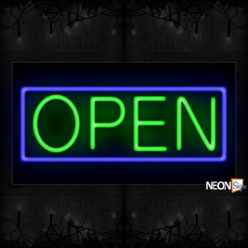 Image of Open in Green With Blue Border Neon Sign