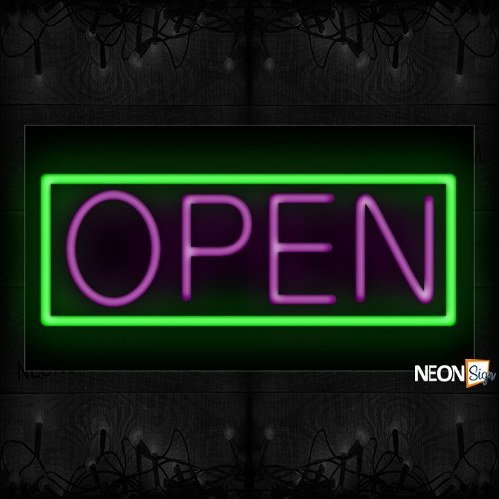 Image of Open With Green Border Neon Sign