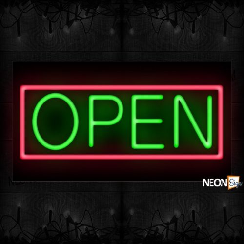 Image of Open in green With Pink Border Neon Sign