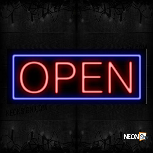 Image of Open in Red With Cobalt Blue Border Neon Sign