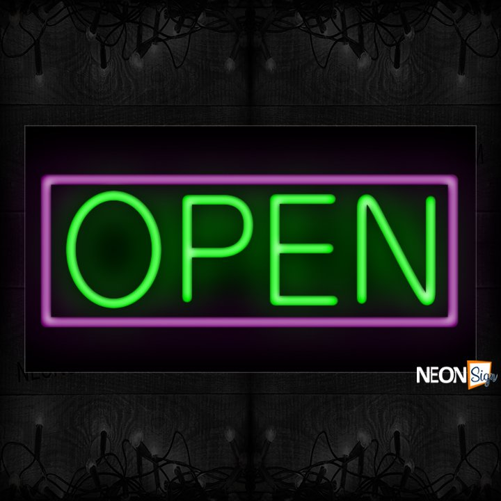 Image of Open With Purple Border Neon Sign