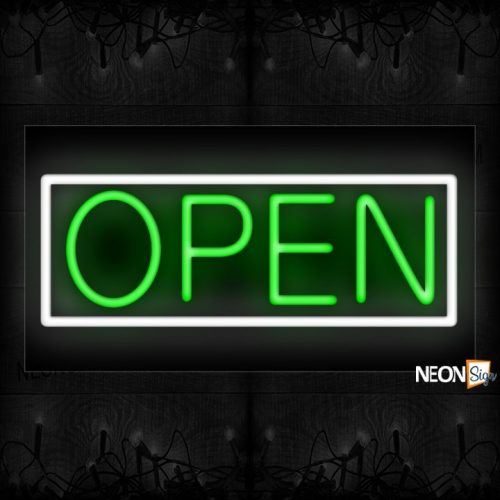 Image of Open in green and White Border Neon Sign