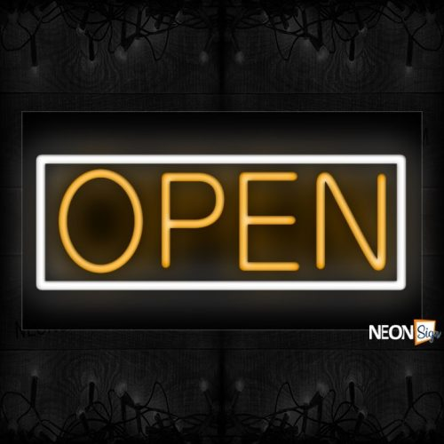 Image of Open in orange and White Border Neon Sign