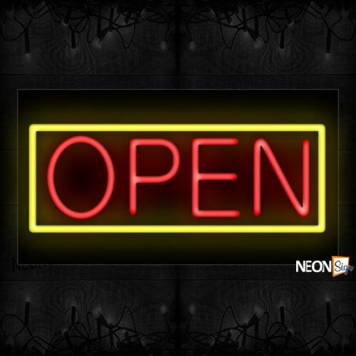 Image of Open With Yellow Border Neon Sign