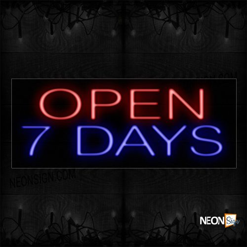 Image of Open 7 Days in Red and Blue Neon Sign