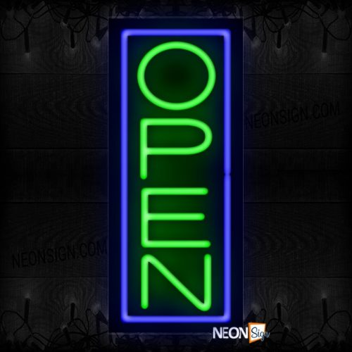 Image of Open With Blue Vertical Border Neon Sign