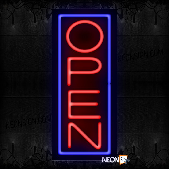 Image of Vertical Open Neon Sign With Blue Border