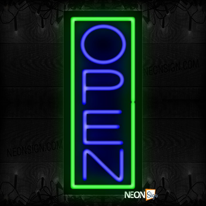 Image of Open in blue With Green Vertical Border Neon Sign