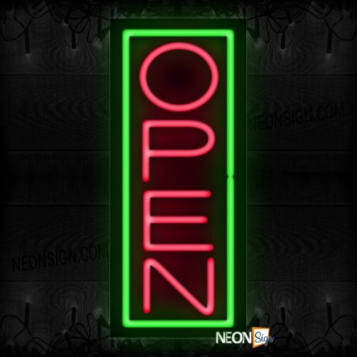 Image of Open in pink With Green Vertical Border Neon Sign