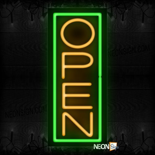 Image of Open in orange With Green Vertical Border Neon Sign
