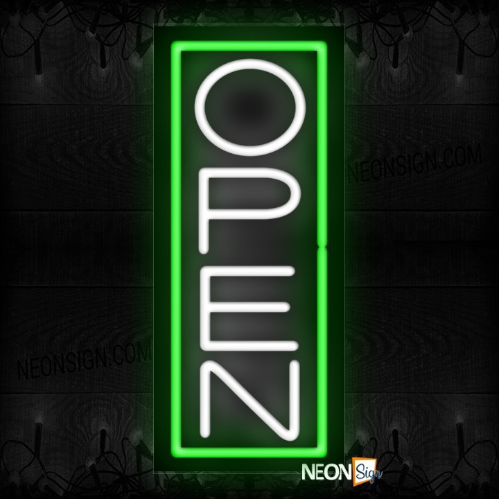 Image of Open in white With Green Vertical Border Neon Sign