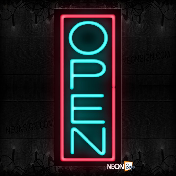 Image of Open in aqua With Pink Vertical Border Neon Sign