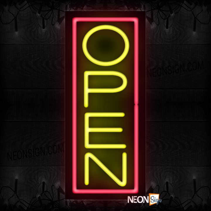 Image of Vertical Open With Pink Border Neon Sign