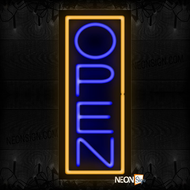 Image of Open in blue With Orange Vertical Border Neon Sign
