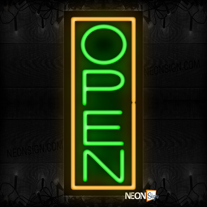 Image of Vertical Open Neon Sign With Orange Border