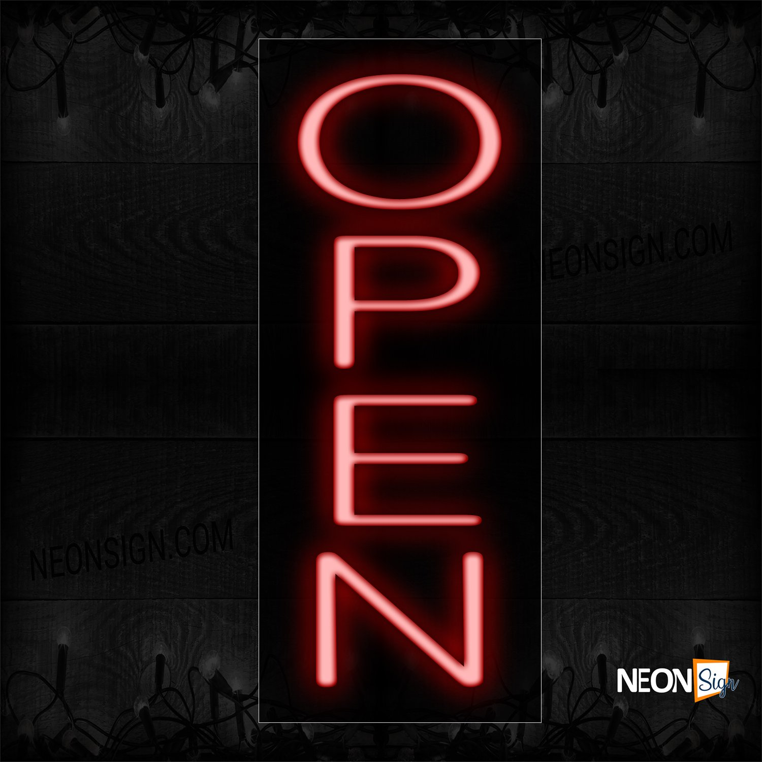 Image of Open In Red (Vertical)Neon Sign