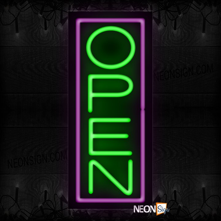 Image of Open With Purple Vertical Border Neon Sign