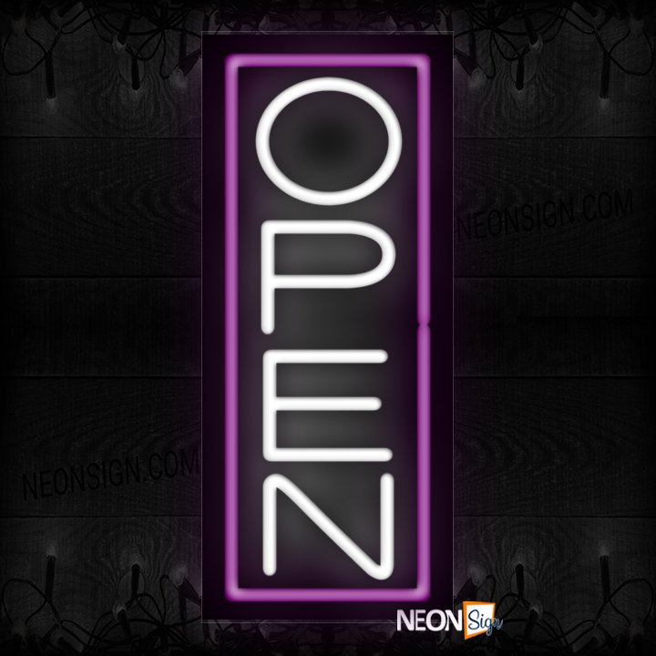 Image of Vertical Open With Purple Border Neon Sign