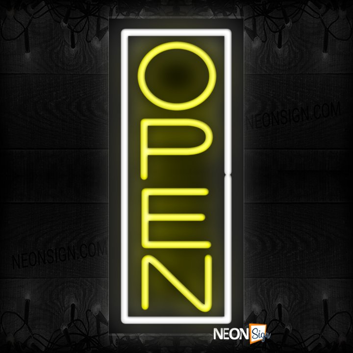 Image of Open With White Vertical Border Neon Sign