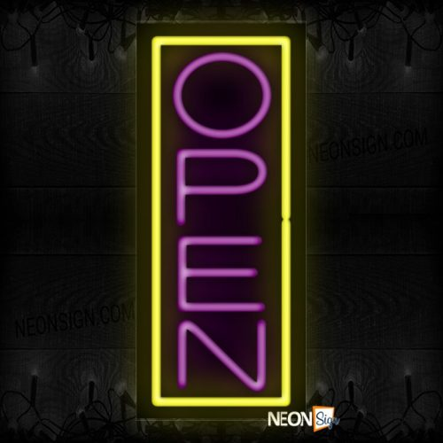 Image of Open in purple and Yellow Vertical Border Neon Sign