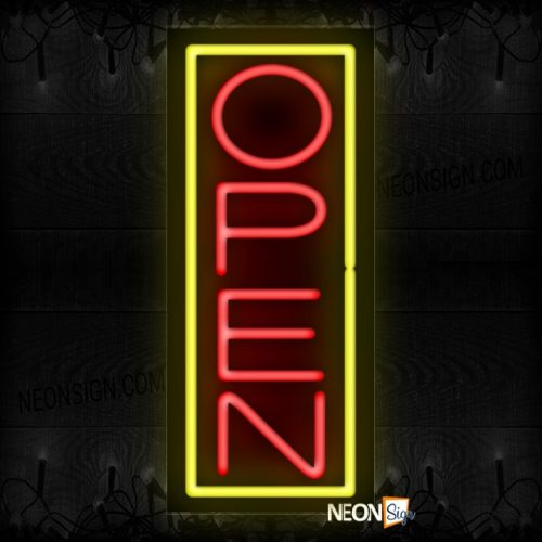 Image of Open in red and Yellow Vertical Border Neon Sign