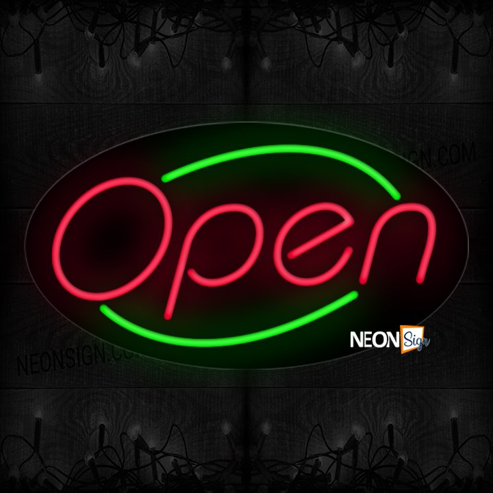 Image of Open With Green Arc Border Neon Sign
