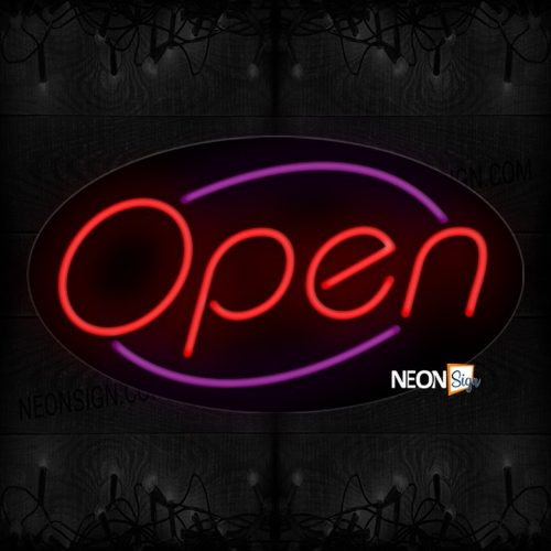 Image of Open in red With Purple arc Border Neon Sign